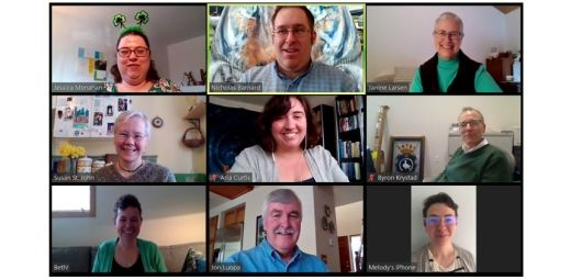 A grid of images of 9 of the UUC staff, participating in a Zoom online meeting