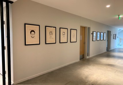 UUC art in downstairs hall