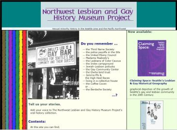 Northwest Lesbian and Gay History Museum Project - home page snip