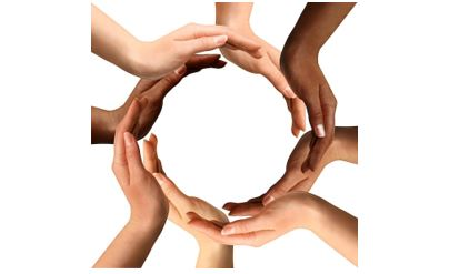 Circle of hands of different skin colors