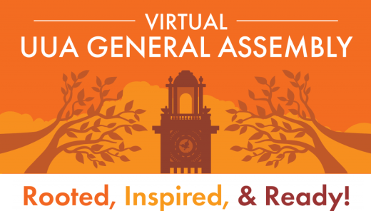 Logo of the 2020 Virtual UUA General Assembly, Rooted, Inspired, & Ready!