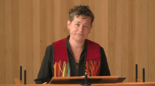"Rev, Beth Chronister delivering the sermon ""A Complicated Inheritance"" on June 21, 2020"