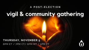 A post-election vigil & community gathering - image of hands cupped around a candle flame in the dark