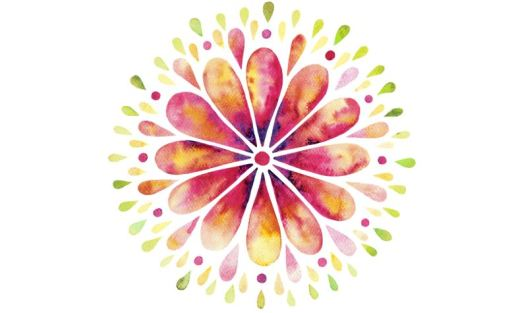 pink, purple, gold and green watercolor flower