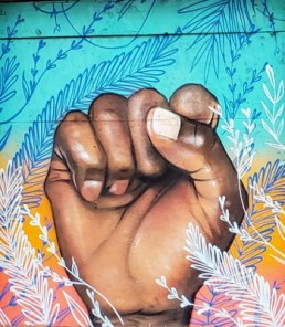 Mural painting of a raised fist
