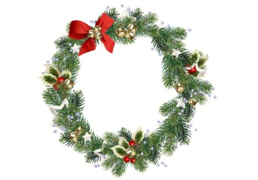wreath of fir and holly with a red bow and jingle bells