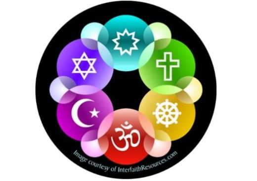 A rainbow circle of symbols of six major faith traditions