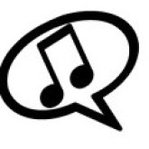 Two musical notes in a word bubble