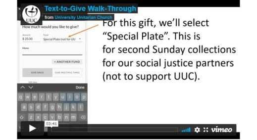 Screen shot of the Text-to-Give Walk-Through video