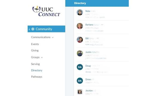 Screen shot of one part of UUC Connect Directory (with contact info greyed out)