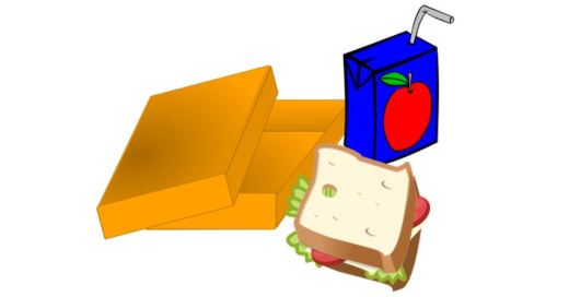 Clipart of box, sandwich and juice box