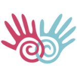 stylized hands with spirals of palms interlinked