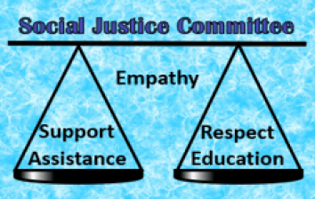 Social Justice Committee shows scales with Support, Assistance, Respect, Education & Empathy