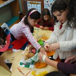 children working on class project