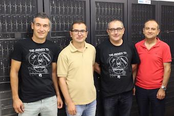 D'esquerra a dreta- Luis Caballero (IFIC), Alberto Albiol (UPV),  Francisco Albiol (IFIC) Antonio Albiol (UPV).