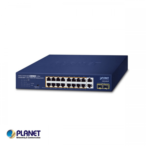 Planet 16-Port 10/100/1000T 802.3at PoE + 2-Port 10/100/1000T + 2-Port 1000X SFP Switch
