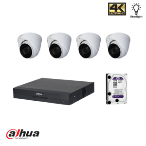 Dahua HDCVI kit 4 kanalen DVR incl 1 TB HDD en 4 pignose camera's 2MP met IR