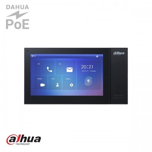 "Dahua 7"" TFT 1024x600 IP Intercom Monitor Zwart"