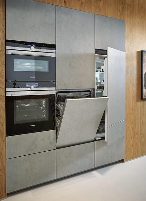Uitgelicht Designkeuken NX 950 met hout  betonlook