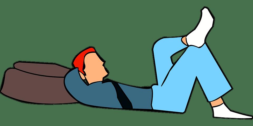 男 リラックス バッグ 荷物 眠っている 夢を見てください 休暇 休み企画 幸せ 週末