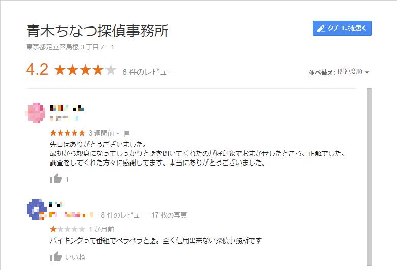 google 青木ちなつ探偵事務所 口コミ・評判 2