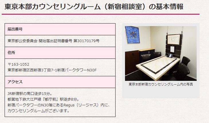 さくら幸子探偵事務所の新宿カウンセリングルーム
