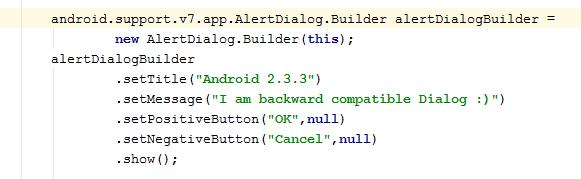 Alert Dialog code snippet