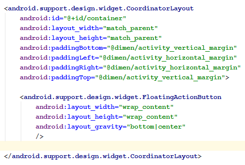 Coordinator Layout with FAB xml code snippet