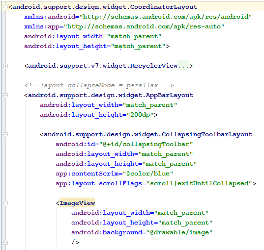 Collapsing with parallax flag code snippet.
