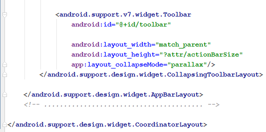 Collapsing with Parllax flag2 code snippet.