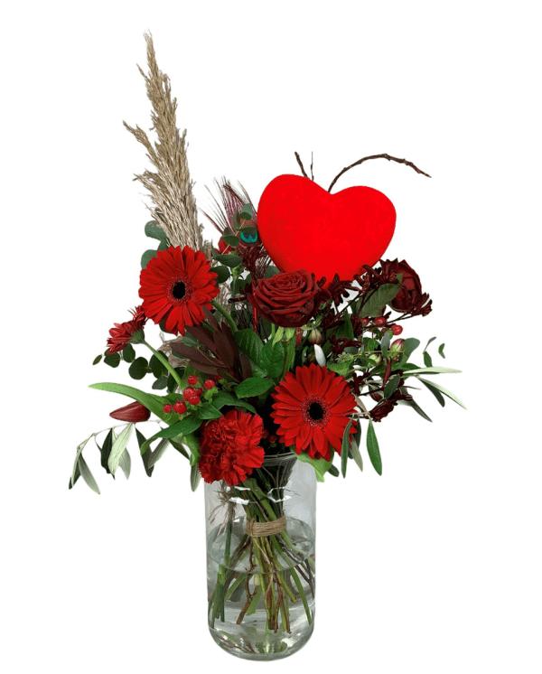 Plukboeket rood | Valentijn | Uwbloemenman.nl