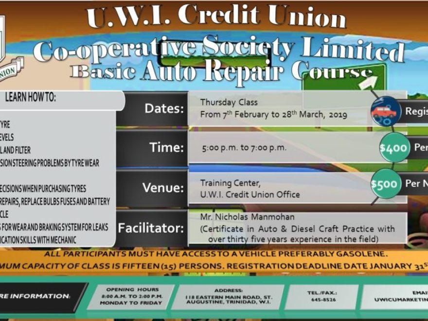 Uwicu Basic Auto Repair Course 2019 Uwi Credit Unio