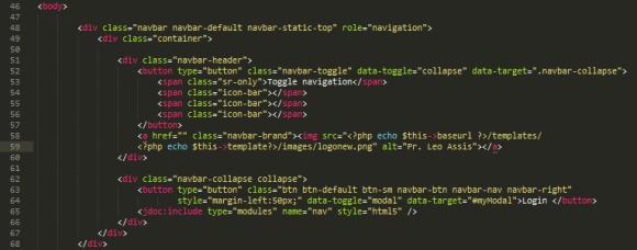 porzione di codice bootstrap