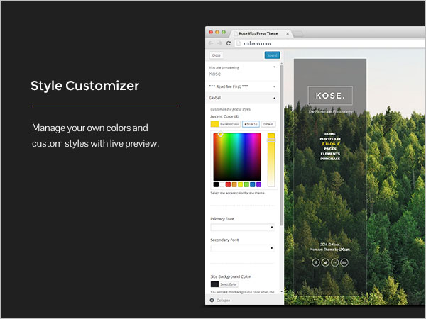 Style Customizer - Manage your own colors and custom styles with live preview.