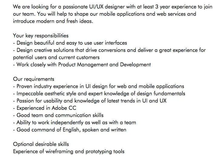 ux cover letter example job description - Great Job Cover Letters