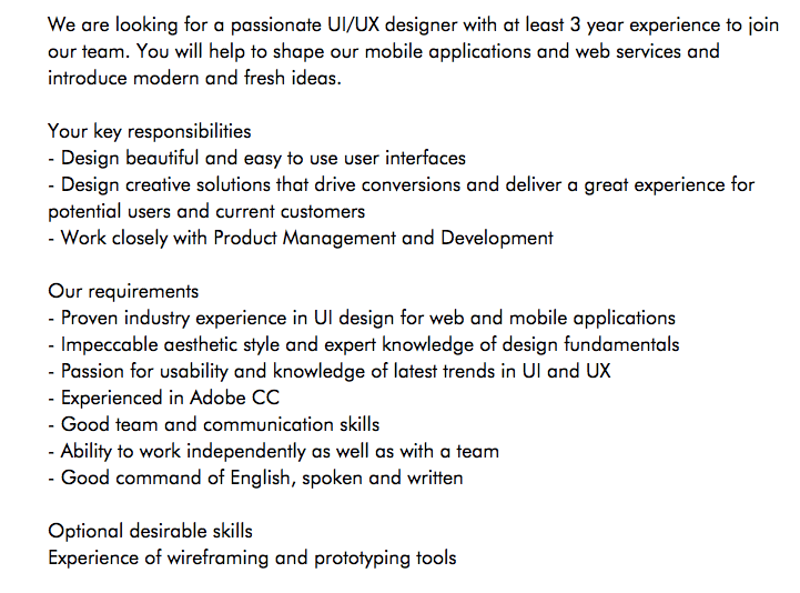 Ux Cover Letter Example Job Description