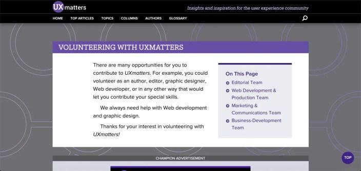 UX Matters Volunteer