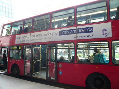 Bus emblazoned with a call to action