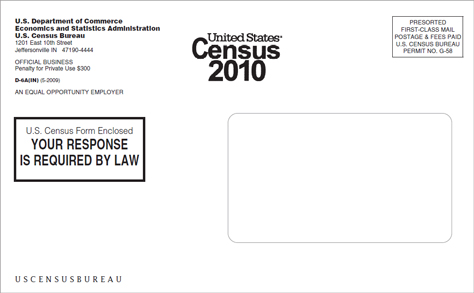 US 2010 Census envelope