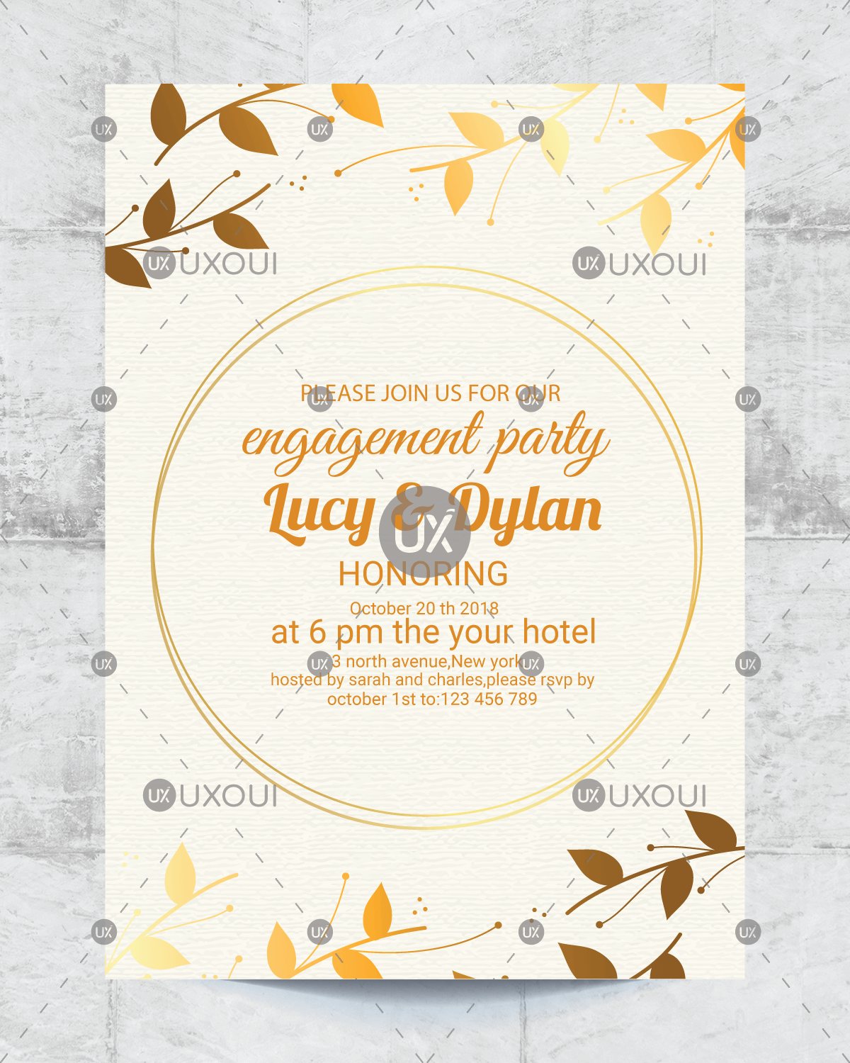 Floral wedding engagement party invitation card design template vector |  UXoUI