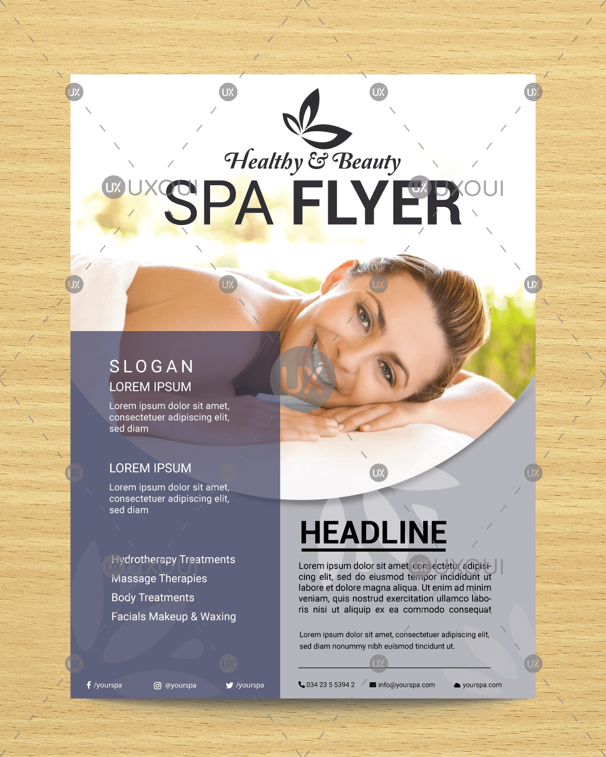 Modern Beauty Spa Flyer Template Design With Elegant Style Vector