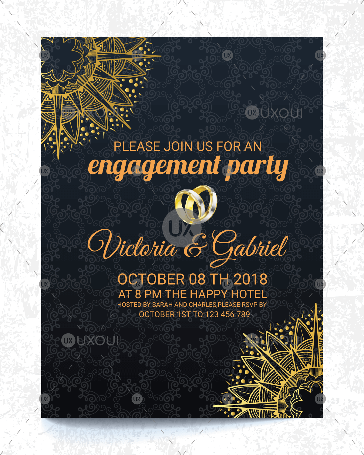 Nice Wedding Engagement Invitation Card Design Vector In Vintage Style Uxoui