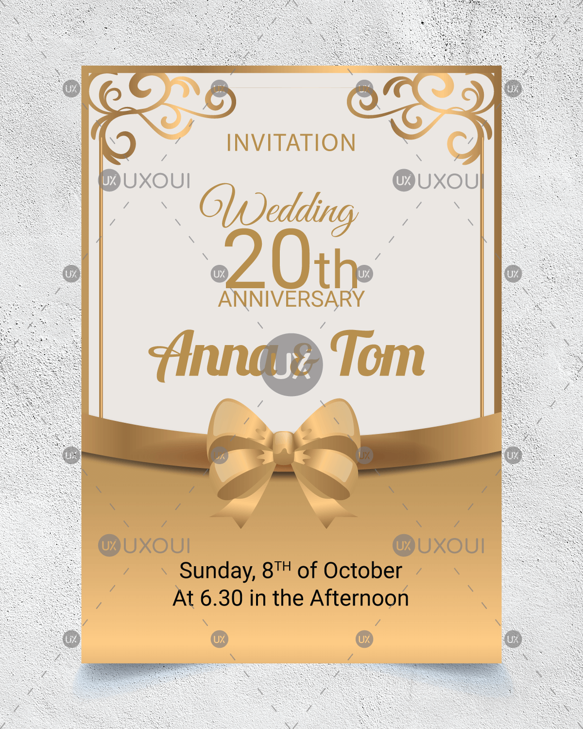 Wedding Anniversary Invitation Card Design With Golden Ornaments Vector Uxoui