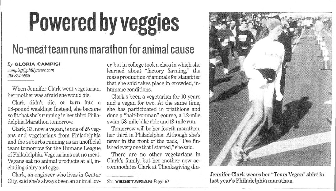 "Scan of newspaper article titled ""Powered by Veggies"""