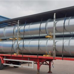 lorry loaded with stainless steel fully welded pipes