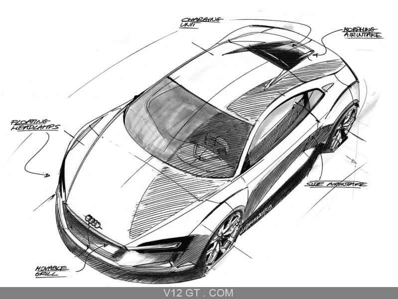 Audi e-Tron dessin 3/4 avant gauche vue de haut / Audi