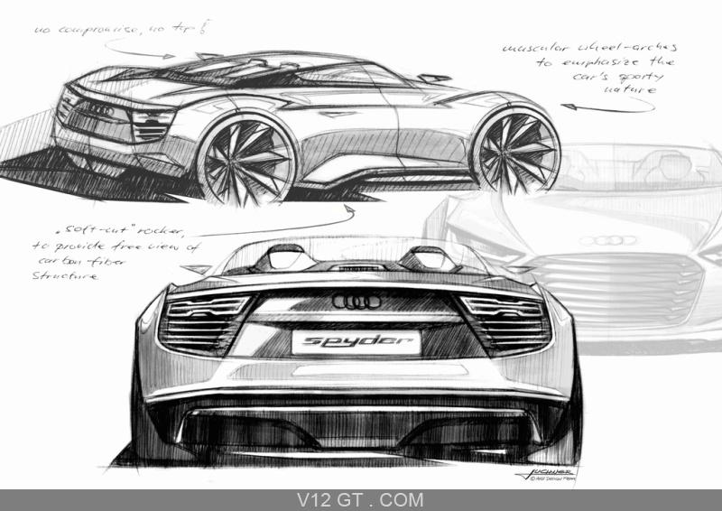 Audi e-Tron Spyder gris 3/4 arrière droit & face arrière