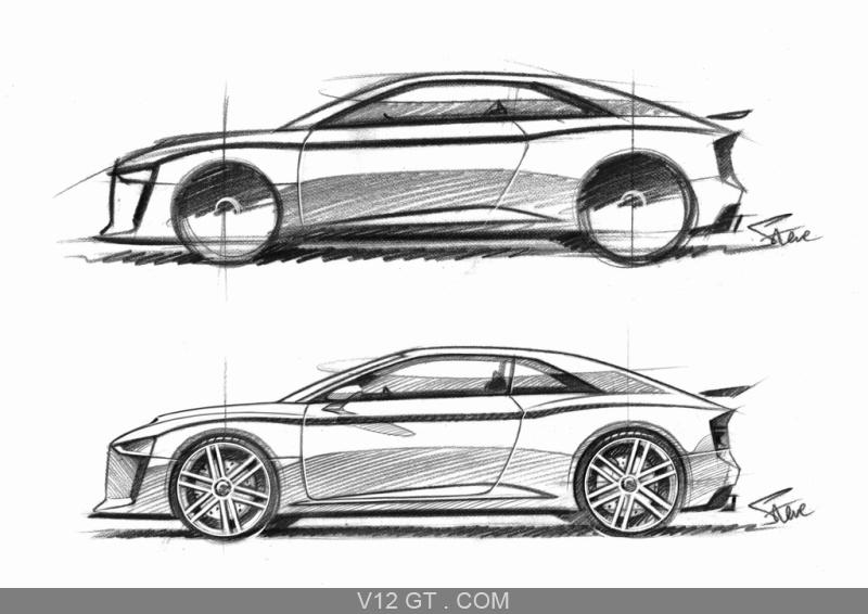 Audi Quattro Concept blanc profil dessin / Audi / Photos