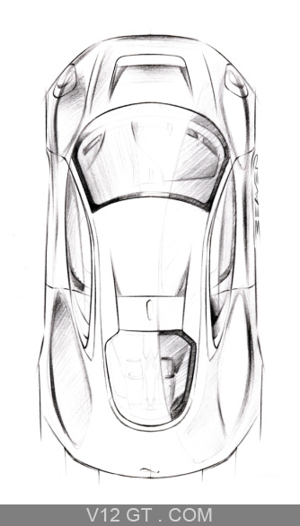 Jaguar C-X75 gris vue du dessus dessin debout / Jaguar