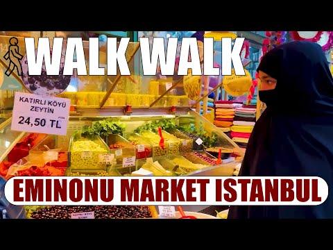 Istanbul, Eminonu Market Walking Tour 60Fps